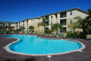 Multifamily property management with swimming pool